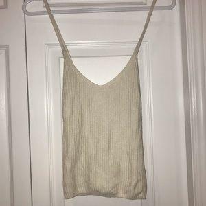 Garage Creme Knit Criss Cross Back Tank Top